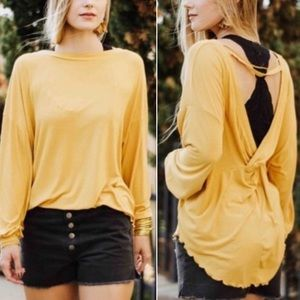 Free People Untamed Gold Top with Open Back